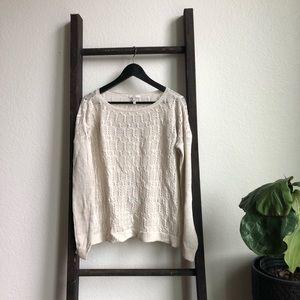 Joie Linen Cream Cable-knit Sweater Lightweight
